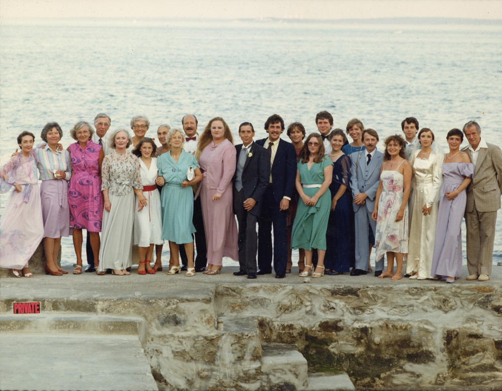 Nicole and Jeffry Lewis-Okes wedding (l-r) Florence Lewis, Babs (Marion)Whitaker-Smith, Connie Hazlett, Hewlett Lewis, Jeane Lewis, Gloria Sherman, Caitlin Sherman,Reny Hill, Olive Wallingford, Jack Sherman, Da